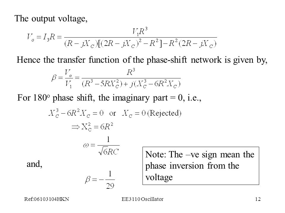 Hence the transfer function of the phase-shift network is given by,