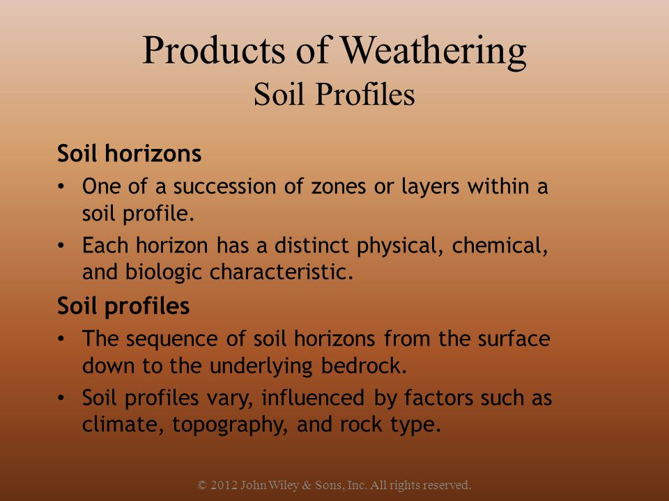 Products of Weathering Soil Profiles