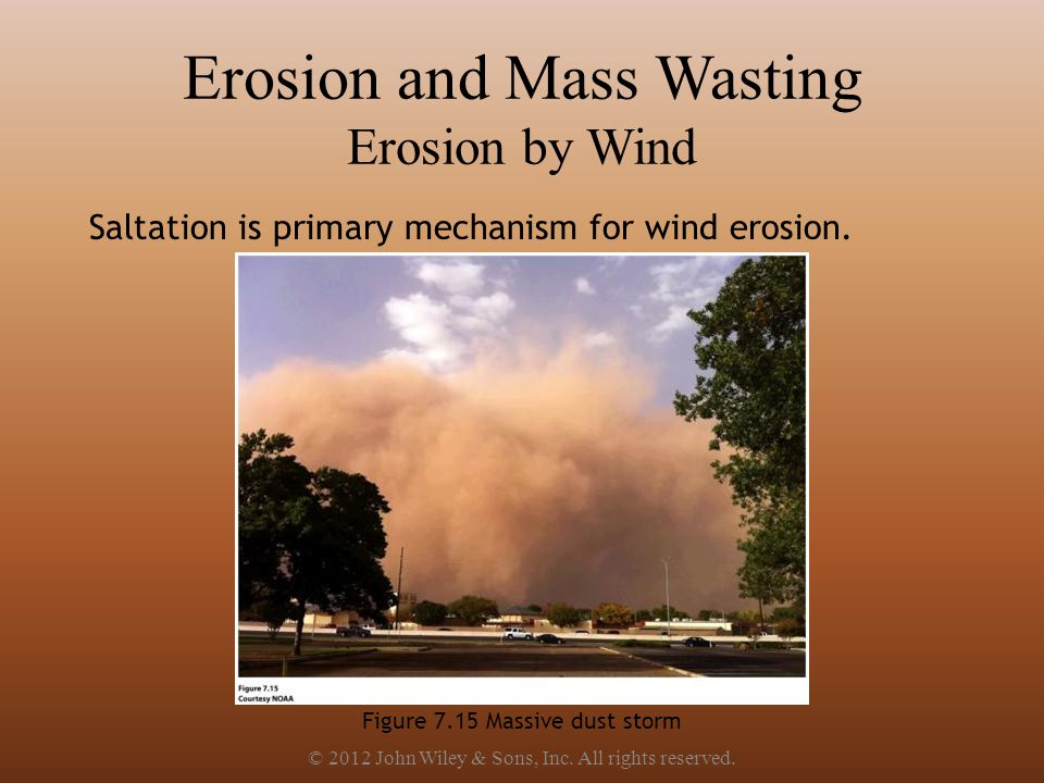 Erosion and Mass Wasting Erosion by Wind