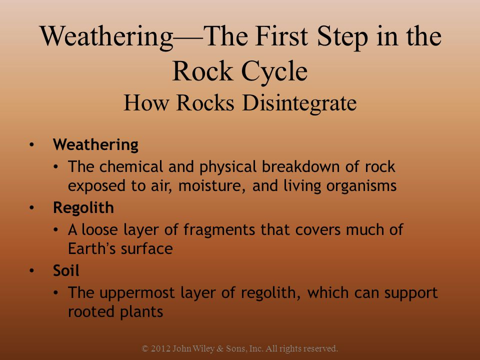 Weathering—The First Step in the Rock Cycle How Rocks Disintegrate