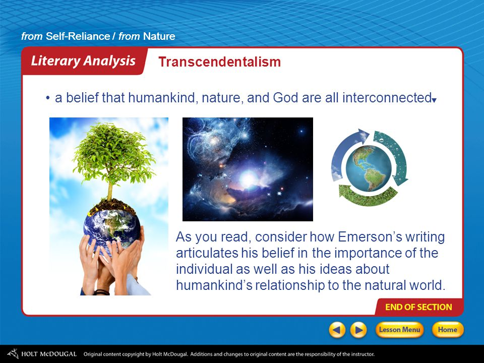 how is the theme of this essay consistent with emersons transcendentalism The american transcendentalism movement history essay print reference this apa mla and philosophical movement of the early nineteenth century, centered around ralph waldo emerson transcendentalism comes from the word transcend, which means to in addition to the theme of american.