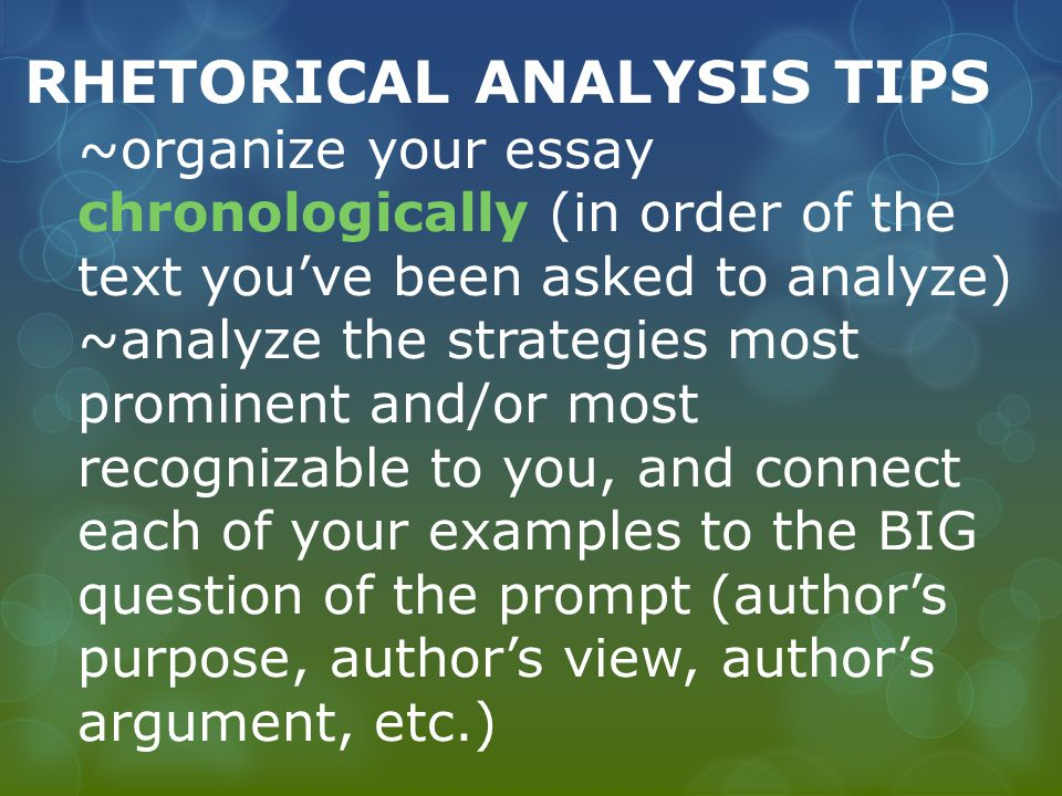ap rhetorical strategies essay Ap rhetorical analysis how to write: ap rhetorical analysis paragraphs and essays things you must know in order to accurately analyze a text: 1 soaps 2rhetorical strategies a.