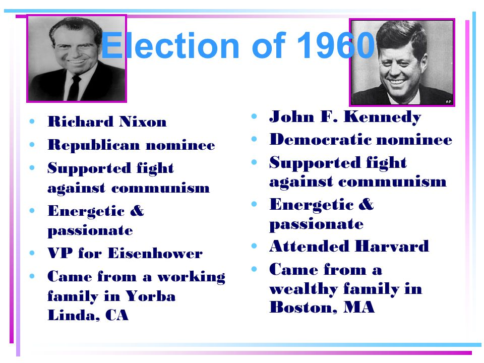 Election of 1960 John F. Kennedy Democratic nominee