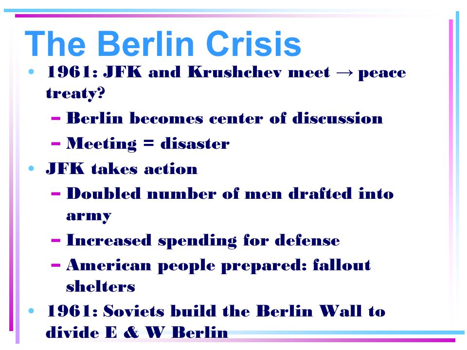The Berlin Crisis 1961: JFK and Krushchev meet → peace treaty