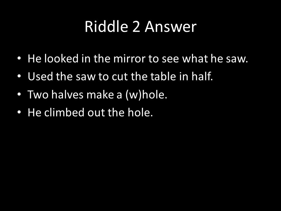 Room Table Mirror Riddle