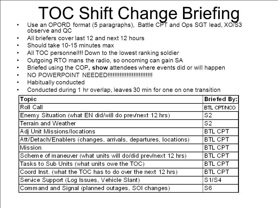 army briefing template - toc cp teach ref fm3 0 fm5 0 fm5 0 1 fm6 0 appendix c d
