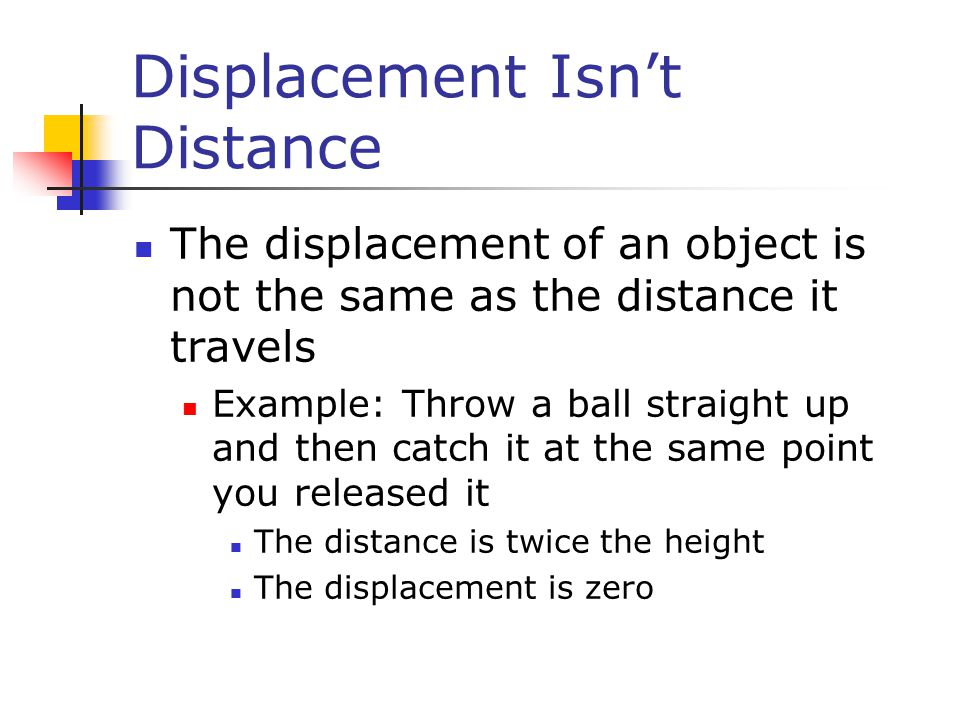 Displacement Isn't Distance