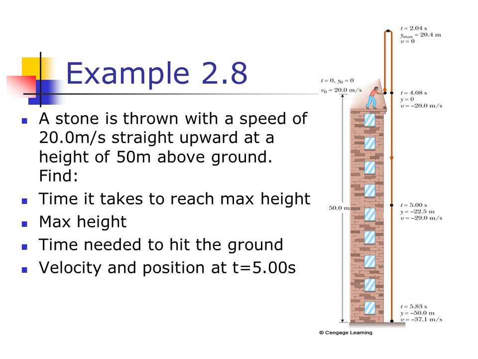 Example 2.8 A stone is thrown with a speed of 20.0m/s straight upward at a height of 50m above ground. Find: