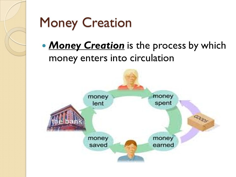 Money Creation Money Creation is the process by which money enters into circulation