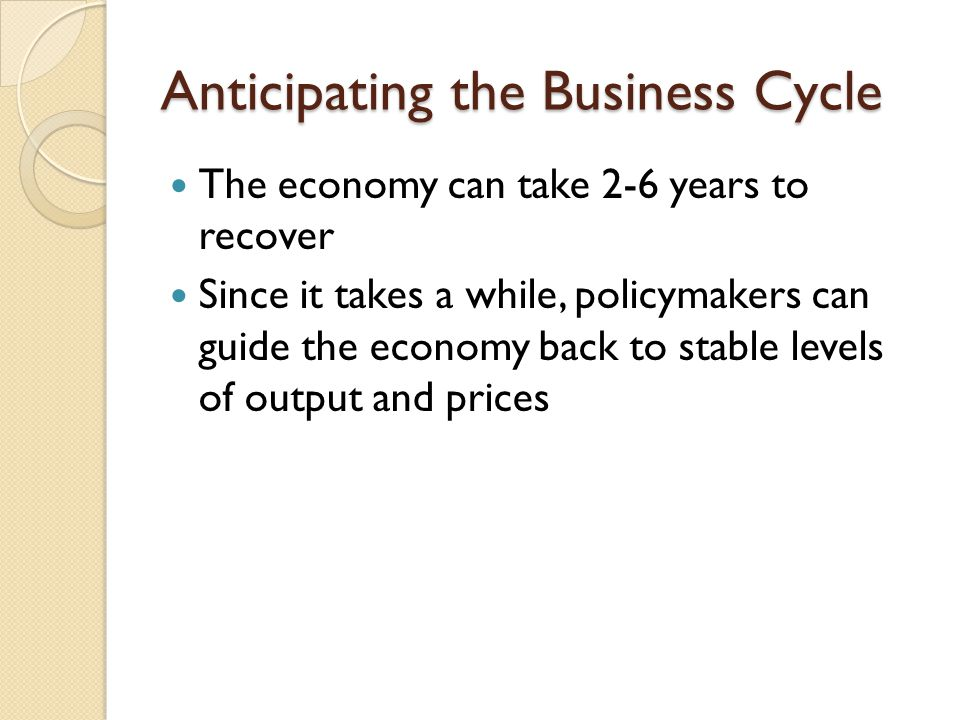 Anticipating the Business Cycle