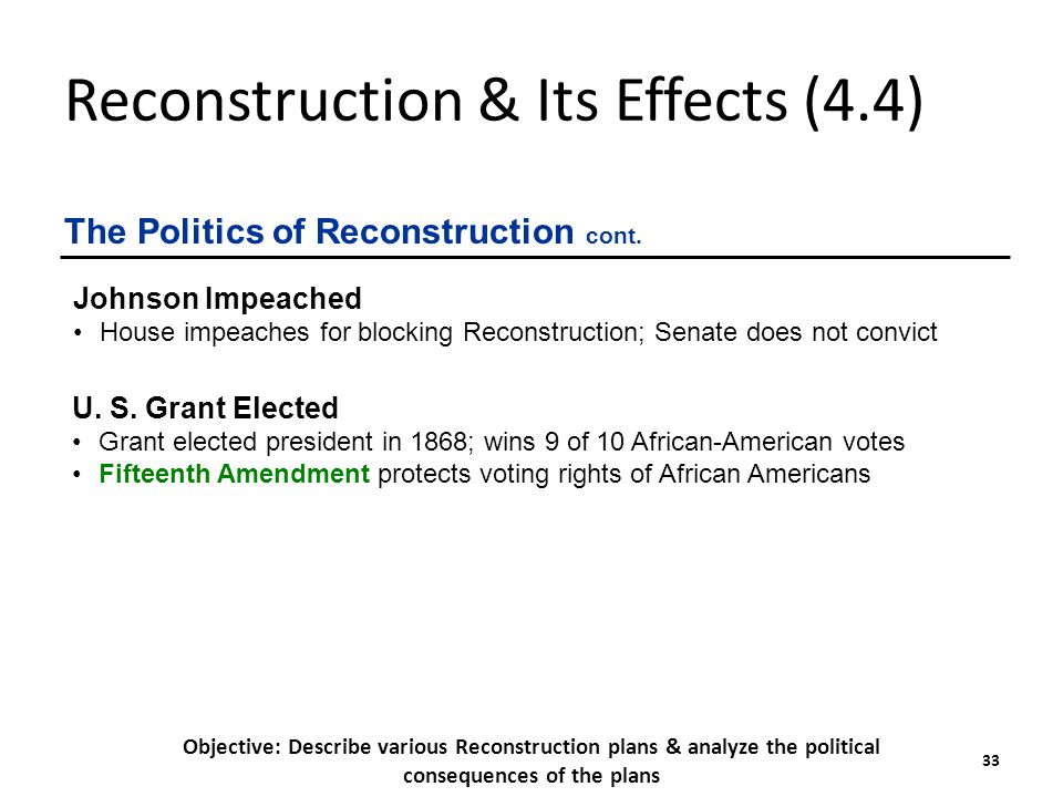 effects of reconstruction on african americans Reconstruction and the formerly enslaved moynihan discussed racism and chronic employment and its effects on african americans.