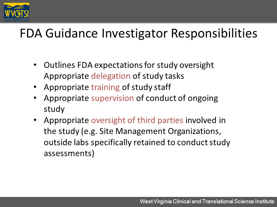 FDA Guidance Investigator Responsibilities