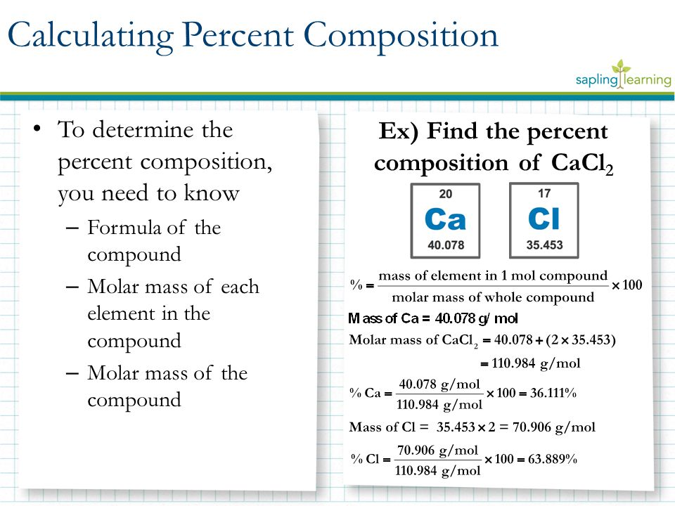 Percent composition empirical and molecular formulas ppt download ex find the percent composition of cacl2 ccuart Images
