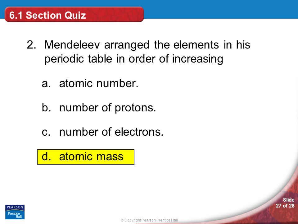 Organizing the elements ppt video online download 61 section quiz 2 mendeleev arranged the elements in his periodic table in order of urtaz Choice Image