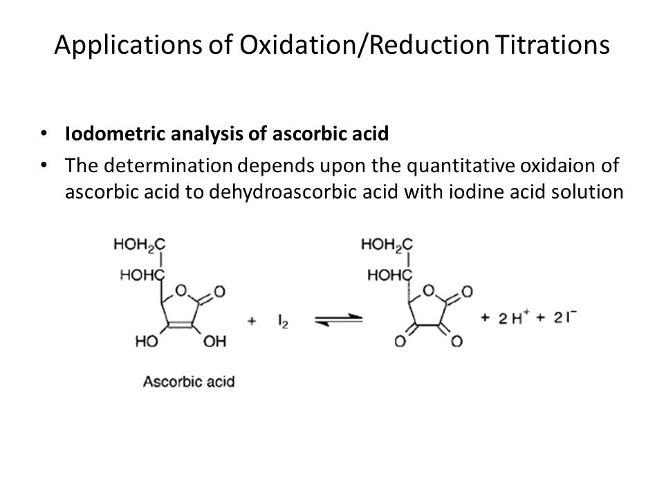 ascorbic acid determination Use this redox-based iodometric titration to determine the amount of vitamin c or  ascorbic acid in juice and other samples.