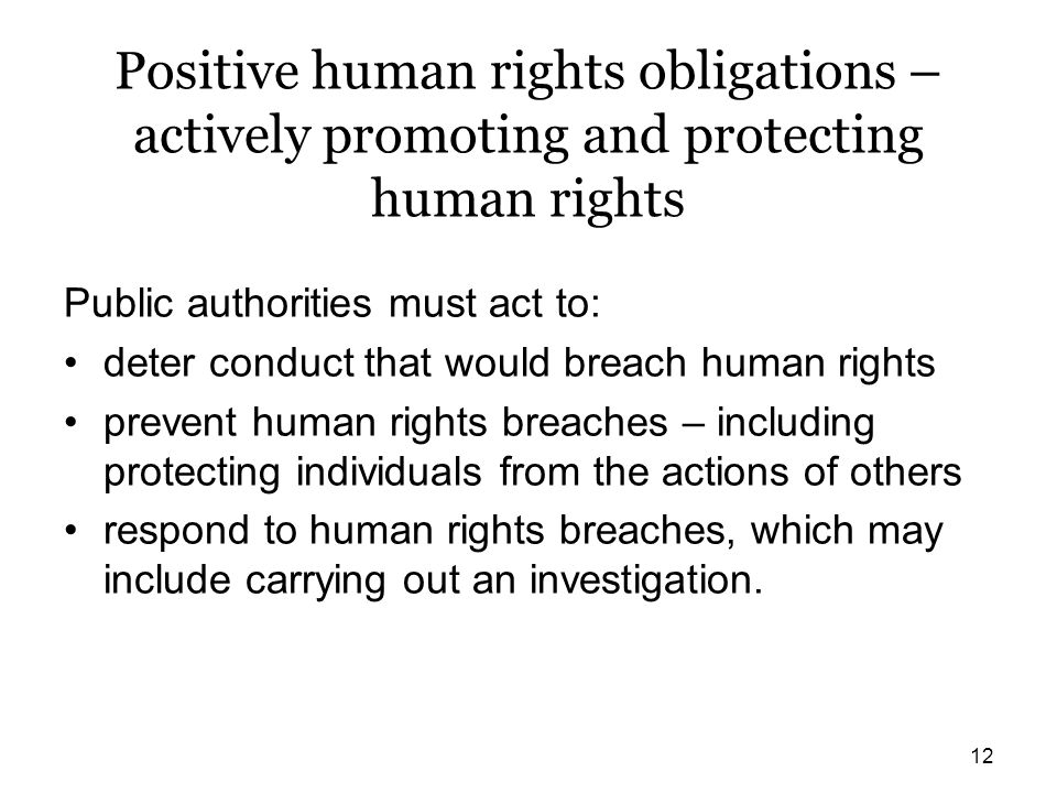 Positive human rights obligations – actively promoting and protecting human rights