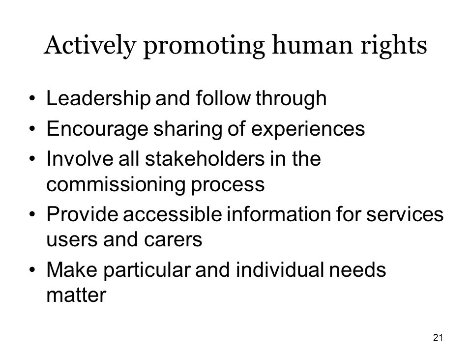 Actively promoting human rights