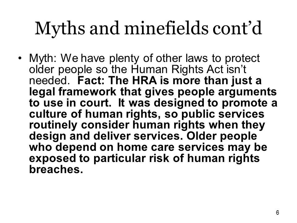 Myths and minefields cont'd