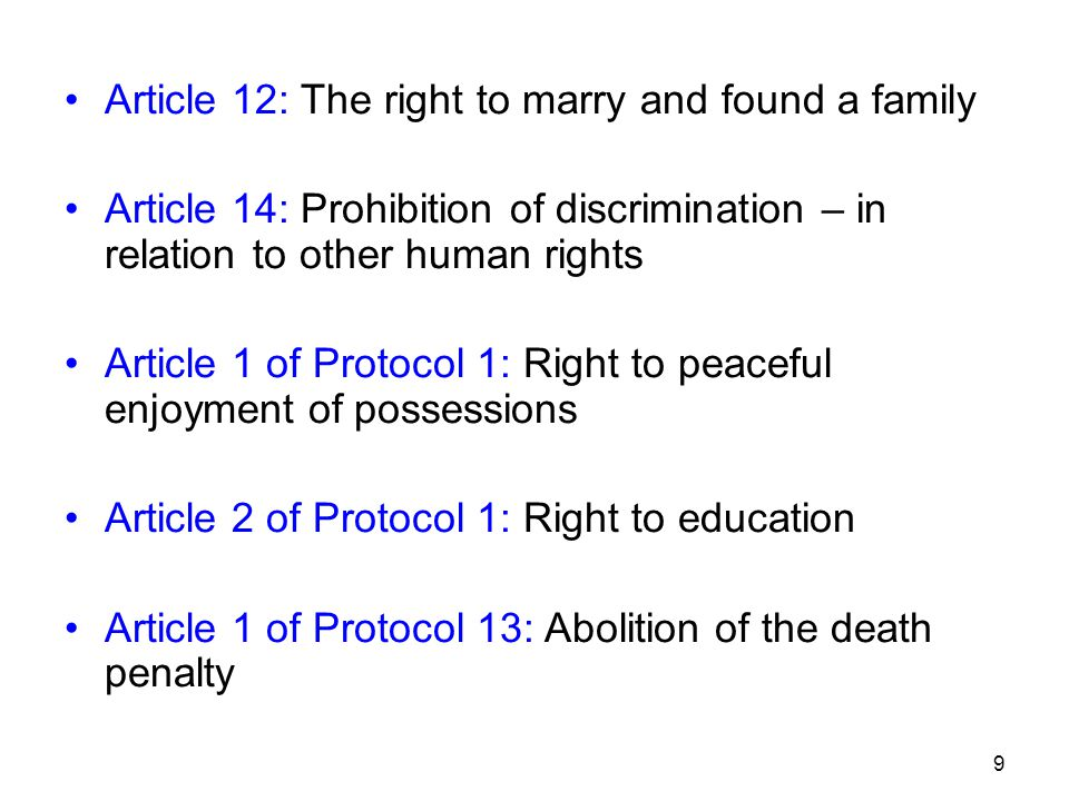 Article 12: The right to marry and found a family