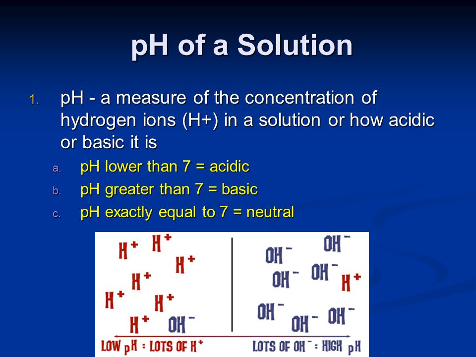 pH of a Solution pH - a measure of the concentration of hydrogen ions (H+) in a solution or how acidic or basic it is.