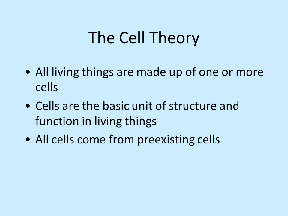 the cell theory can be summarized The cell theory, or cell doctrine, states that all organisms are composed of similar units of organization, called cells the concept was formally articulated in 1839 by schleiden & schwann and has remained as the foundation of modern biology.