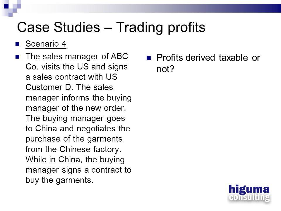 Case Studies – Trading profits