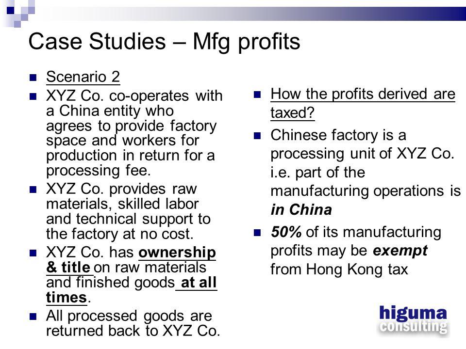Case Studies – Mfg profits