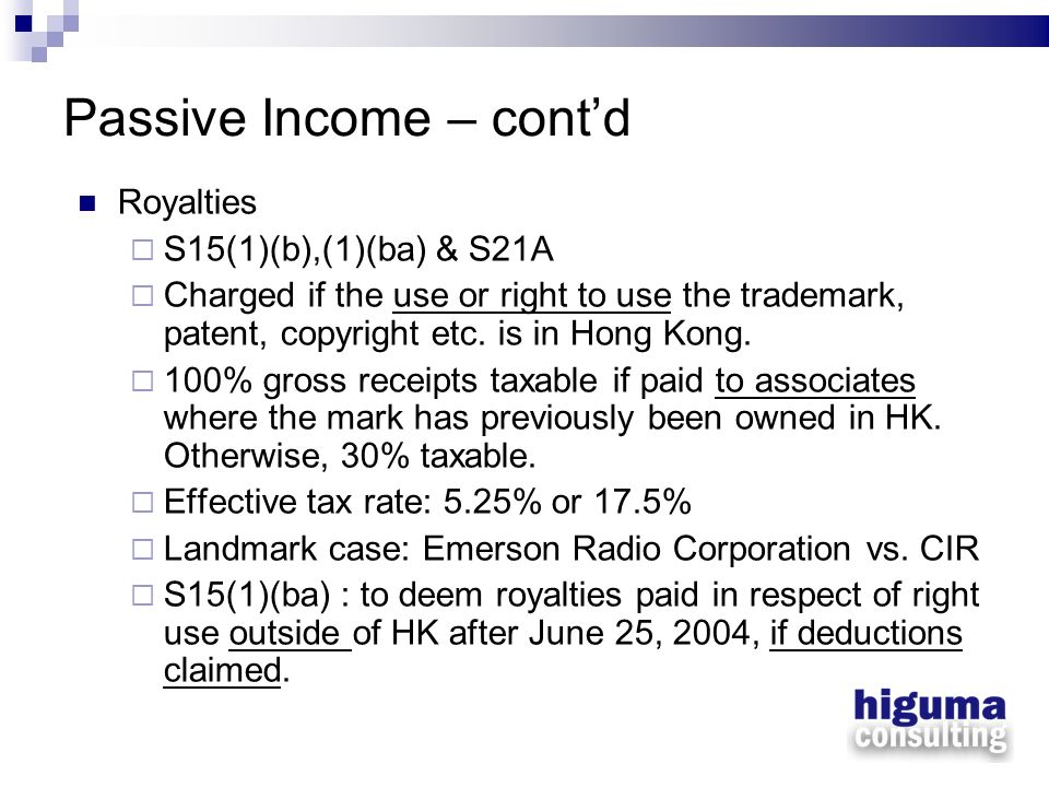 Passive Income – cont'd