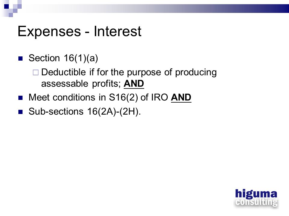 Expenses - Interest Section 16(1)(a)