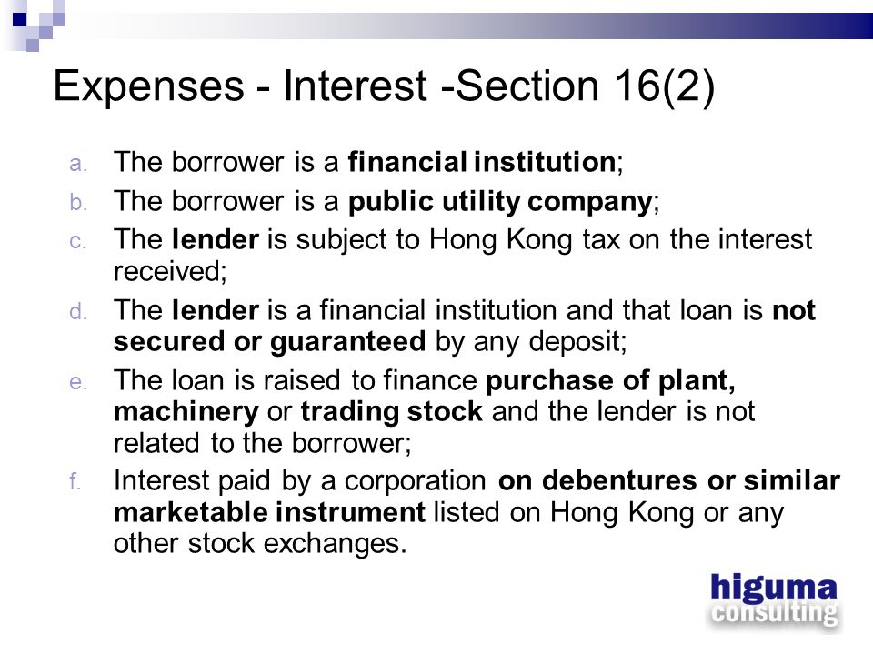Expenses - Interest -Section 16(2)