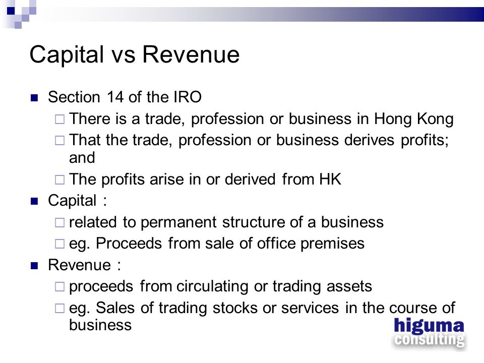 Capital vs Revenue Section 14 of the IRO