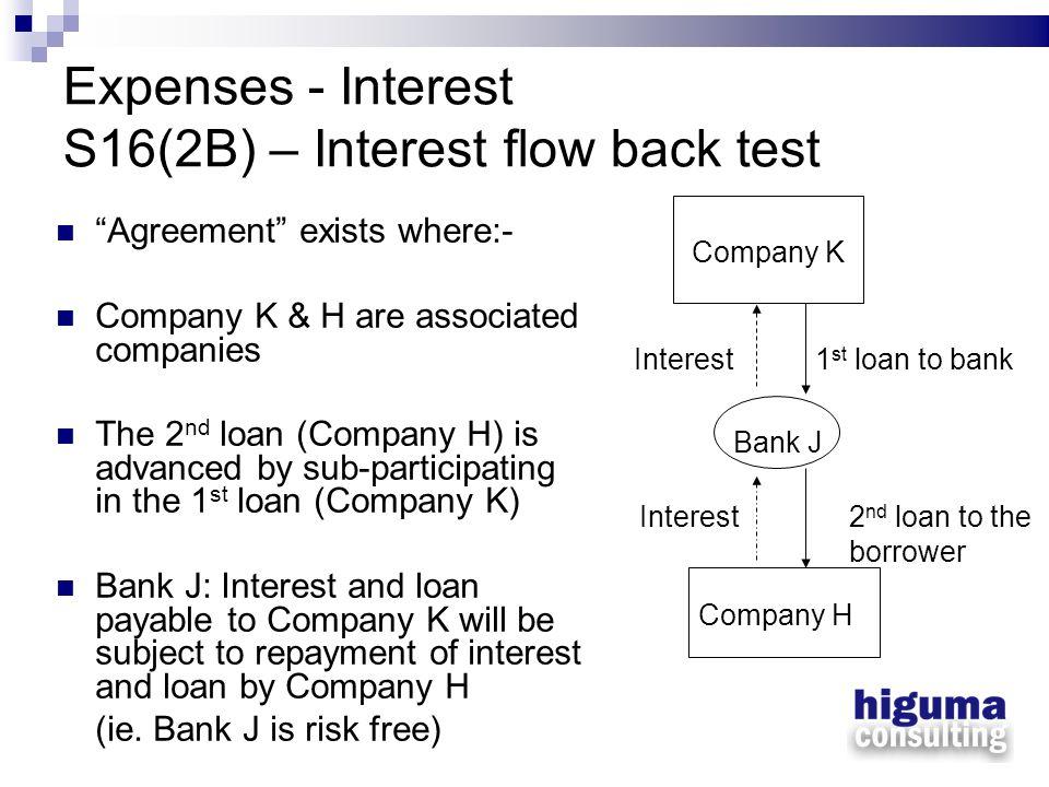 Expenses - Interest S16(2B) – Interest flow back test