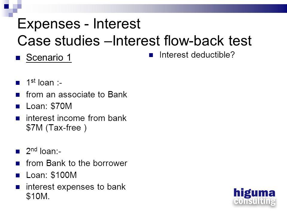 Expenses - Interest Case studies –Interest flow-back test