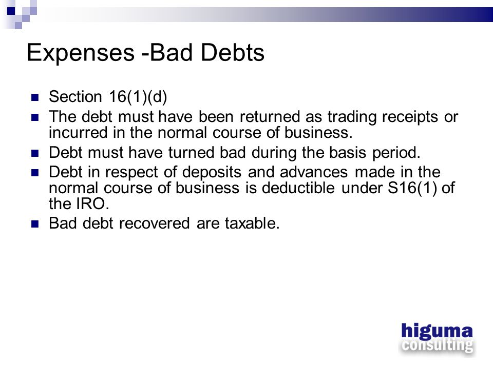 Expenses -Bad Debts Section 16(1)(d)