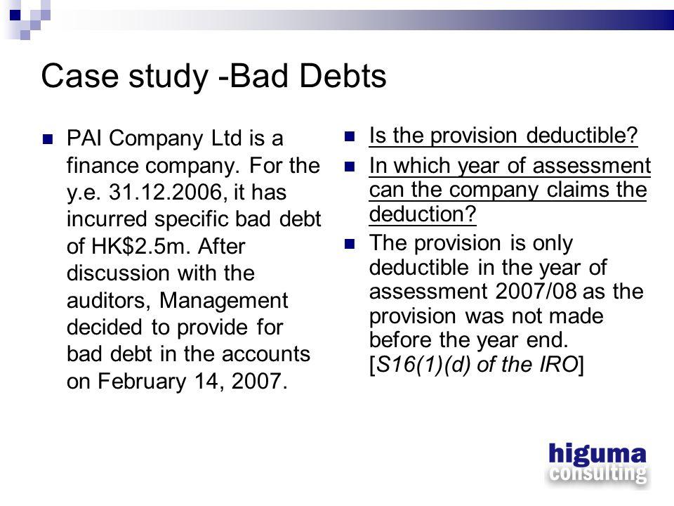 Case study -Bad Debts