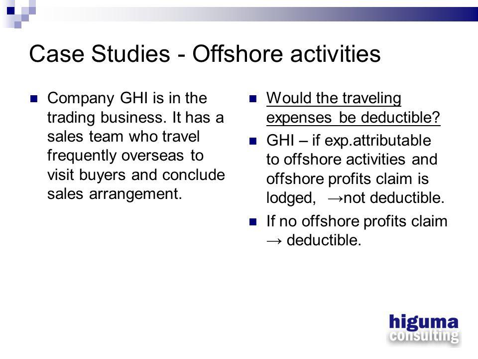 Case Studies - Offshore activities