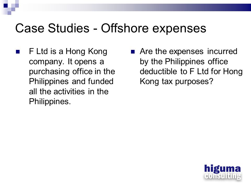 Case Studies - Offshore expenses