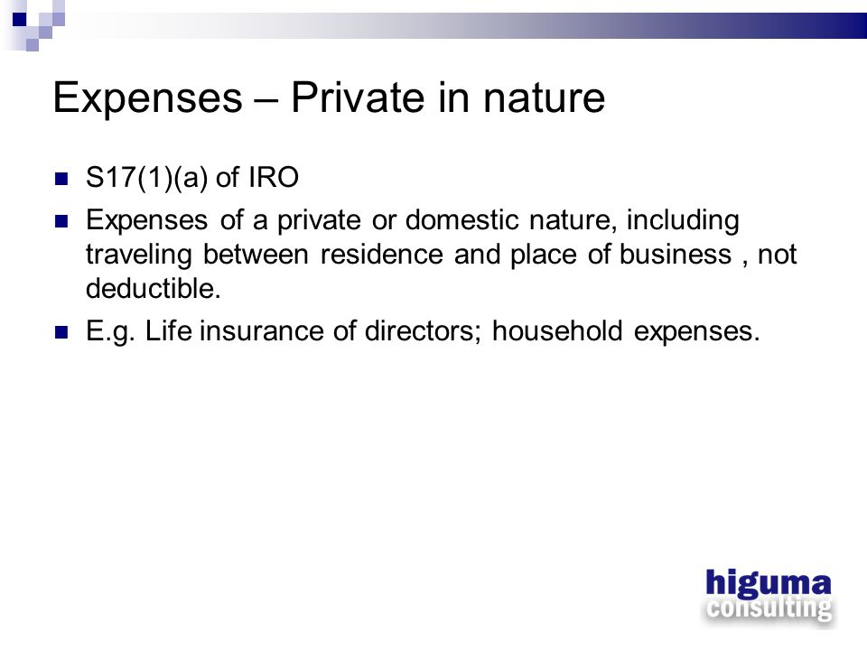 Expenses – Private in nature