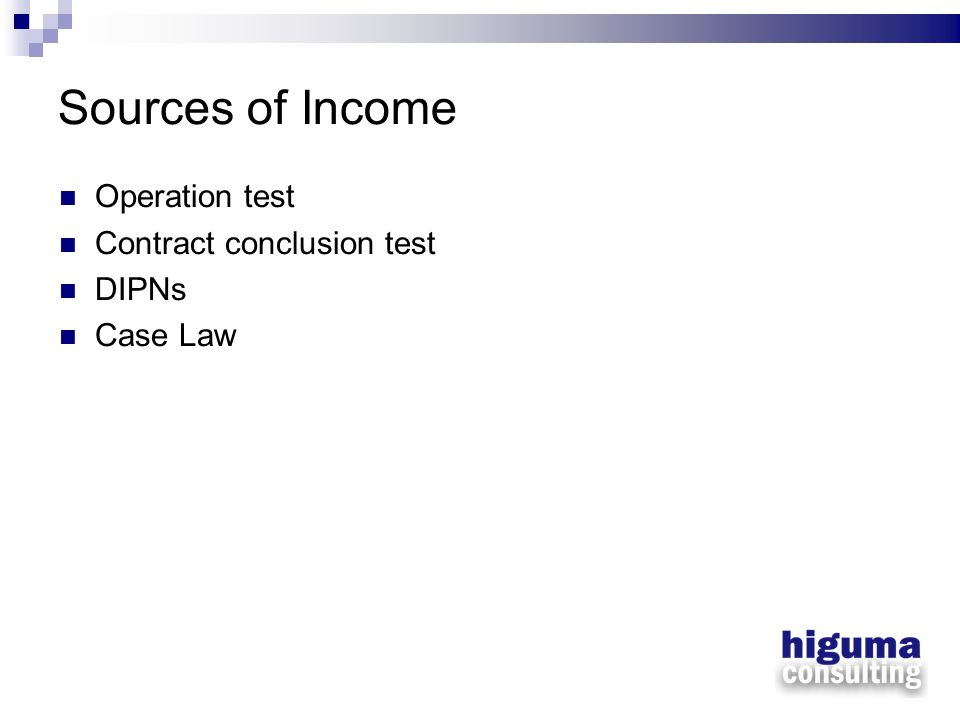 Sources of Income Operation test Contract conclusion test DIPNs