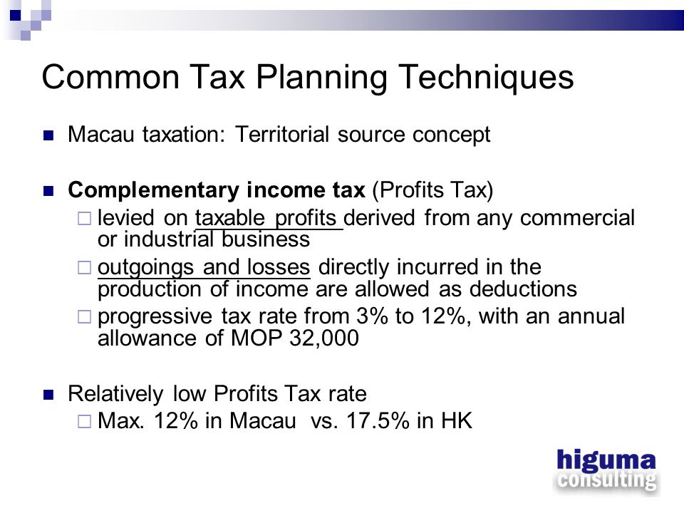 Common Tax Planning Techniques