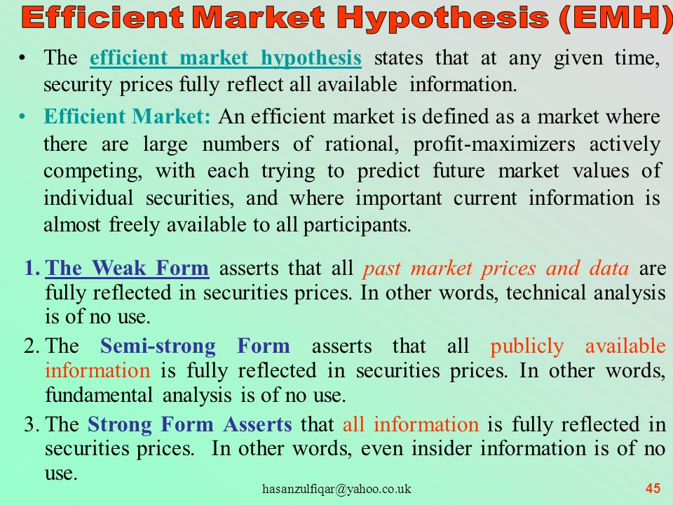 weak form efficient market hypothesis behavioural finance The efficient market hypothesis and behavioural finance are two main but seeming contradictory domains for study of  different scholars in the area of finance they are weak form, semi.