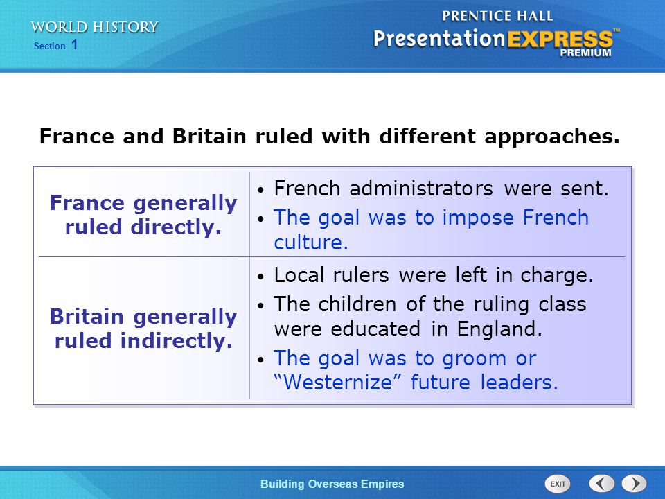 France and Britain ruled with different approaches.