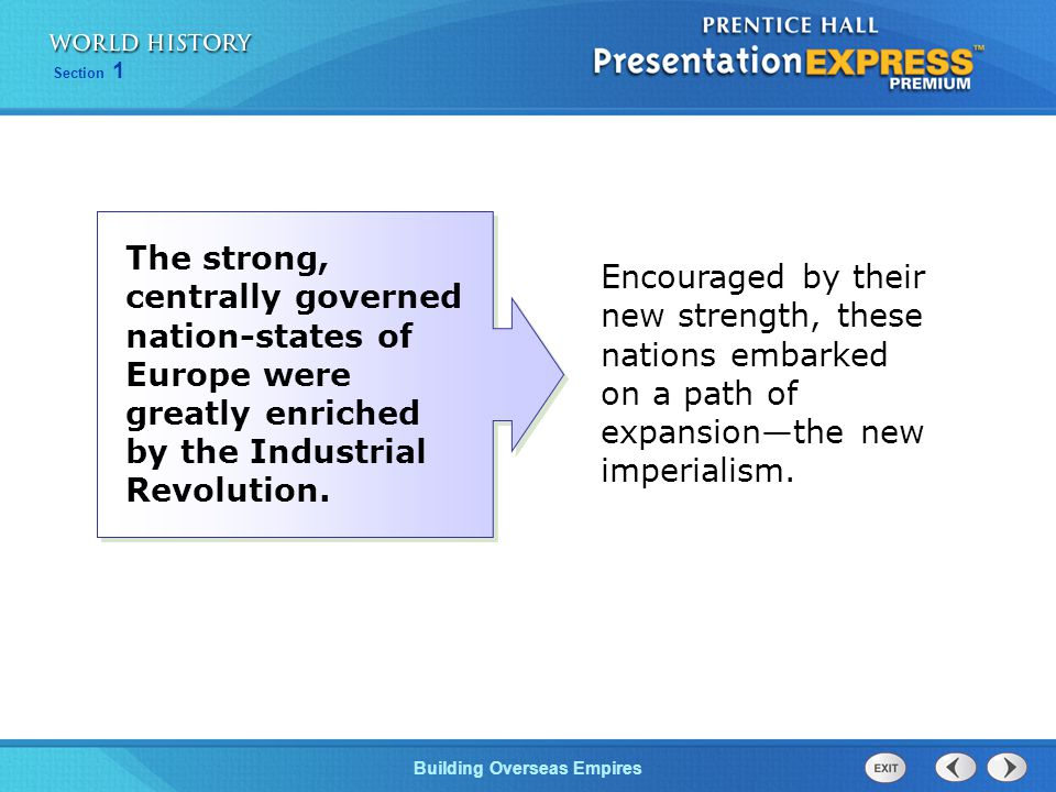 The strong, centrally governed nation-states of Europe were greatly enriched by the Industrial Revolution.