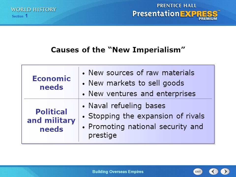 Causes of the New Imperialism Political and military needs