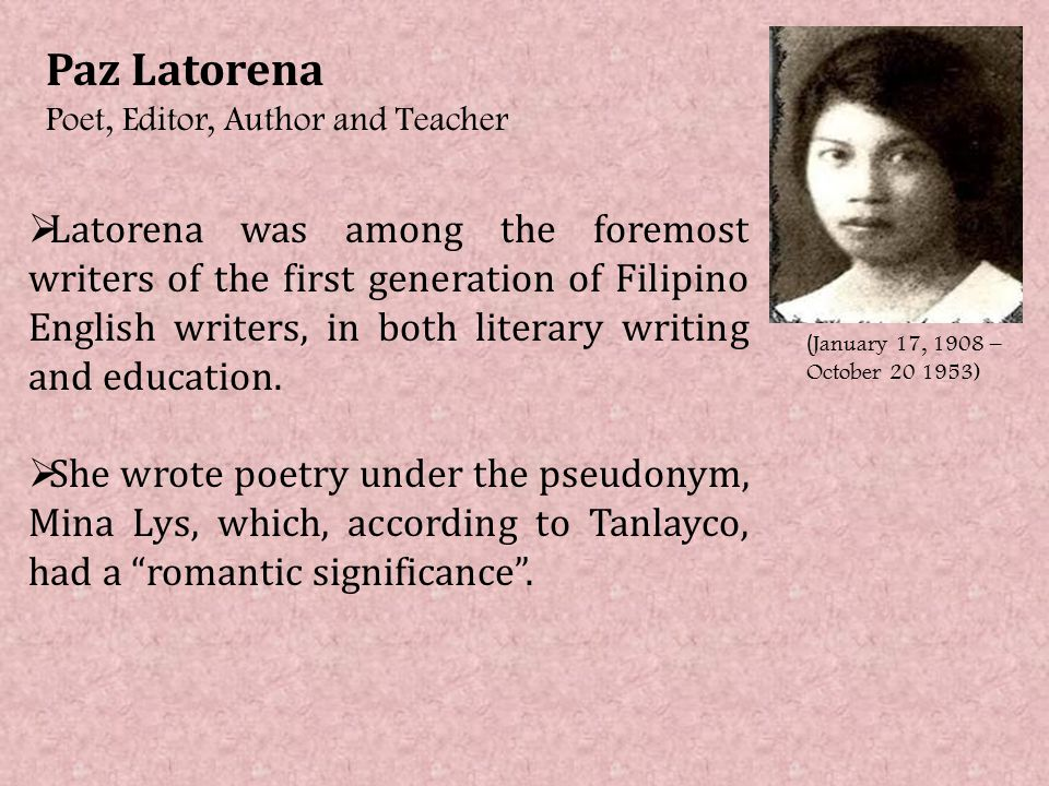 english essay written by filipino writers The literary forms in philippine literature by: the essay in english became a potent medium from the 1920's to the filipino writers continue to write poetry.