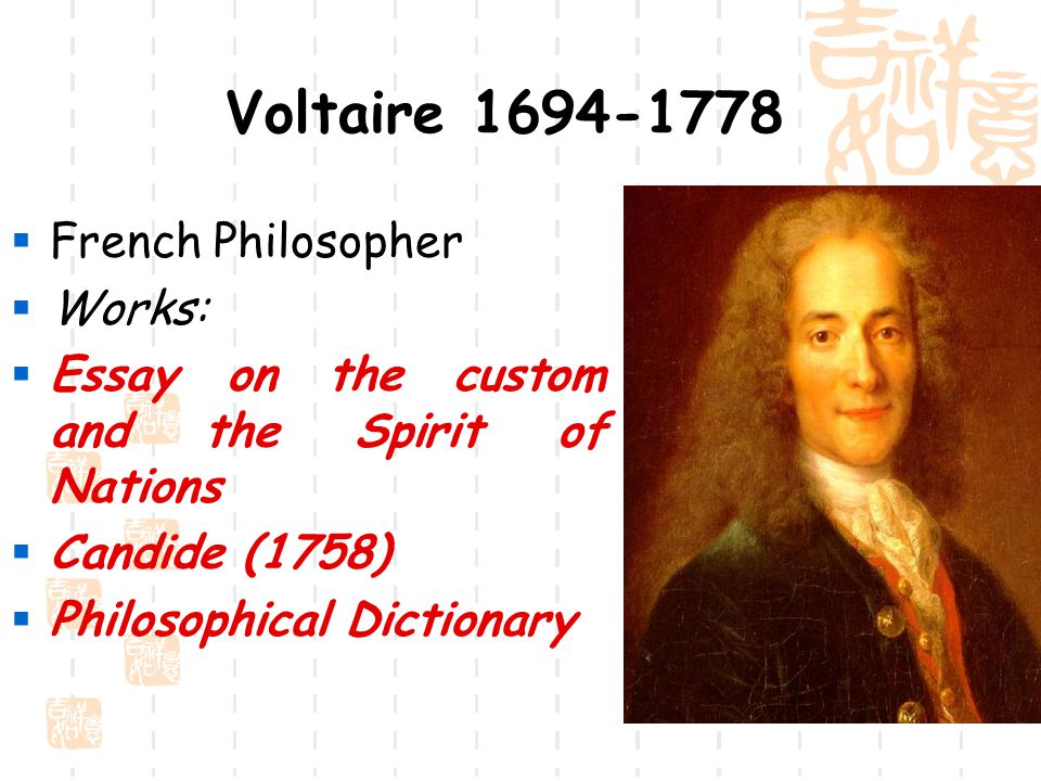Essay on the customs and the spirit of the nations voltaire
