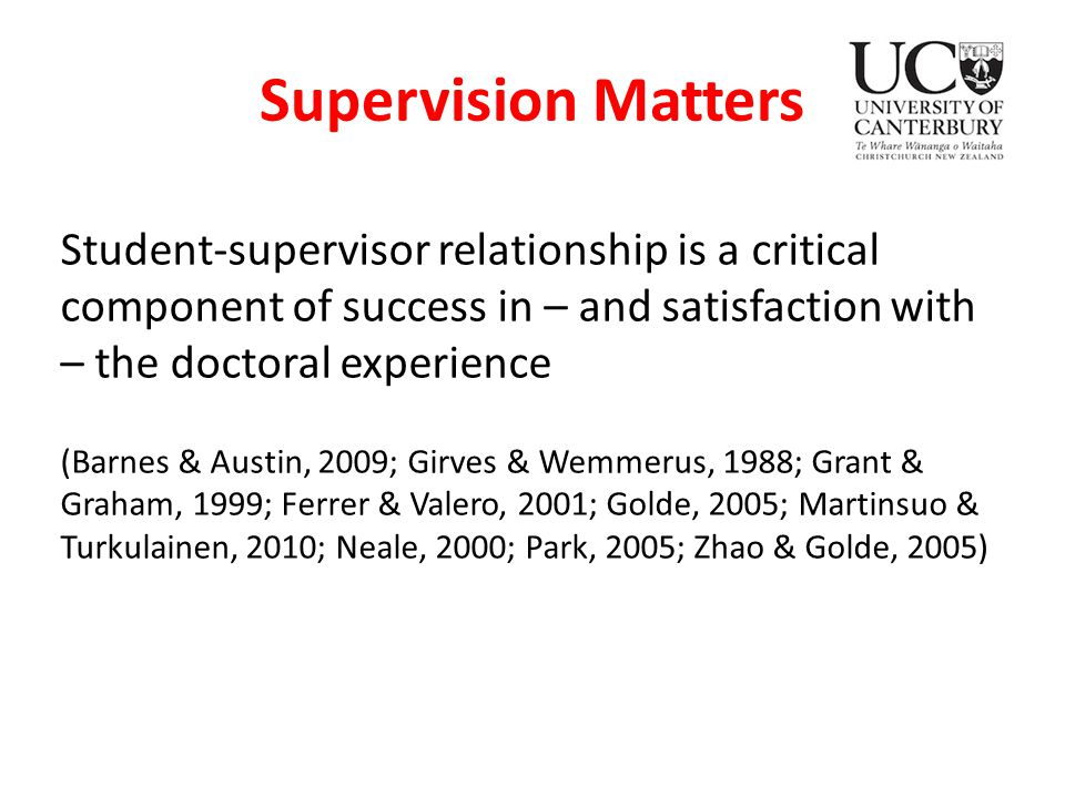 a model for the supervision doctoral student relationship