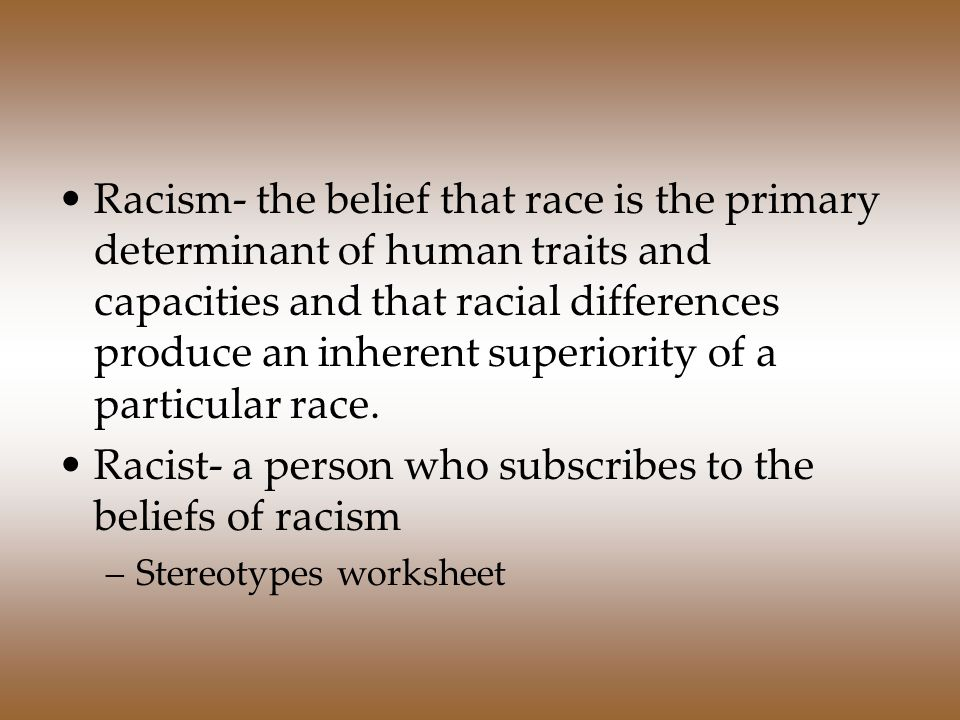 racism and ethnic discription in the Janan shouhayib, an undergraduate student at connecticut college, explains how racism manifests itself in the realm of psychology.
