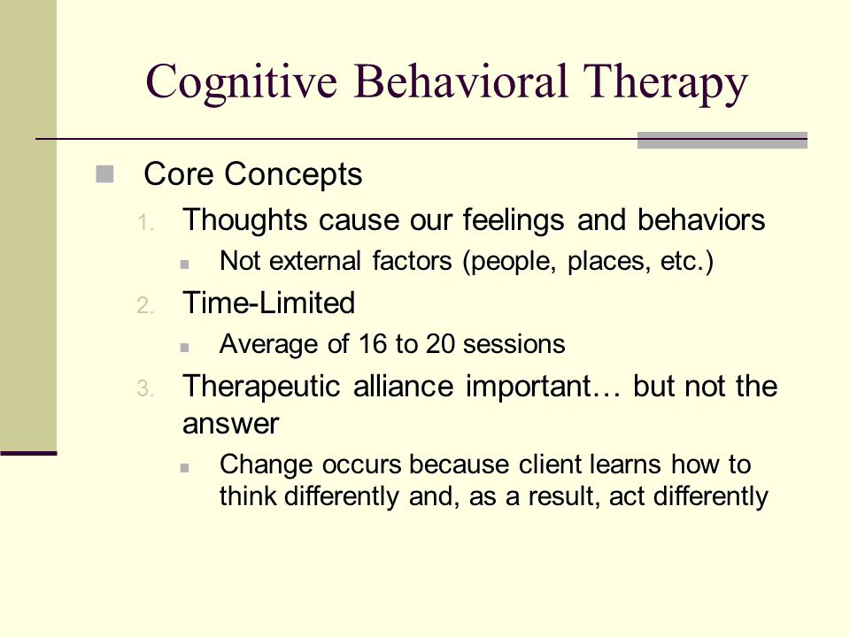 cbt therapy essay The purpose of this essay is to provide a theory based evaluation of cognitive behavioural therapy (cbt) the first part of this essay will concentrate on defining cbt including a brief description of its derived history and the therapies that have contributed to its development.