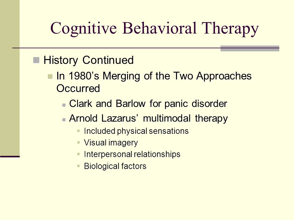 what is arnold lazaruss approach to therapy Arnold allan lazarus (born 1932) is a south african psychologist who is known for his contributions to behavior therapy concurrently with the pioneering contributions of albert ellis and aaron beck, starting in the late 1950s and continuing through the 1970s, lazarus developed what was arguably the first form of broad-spectrum cognitive behavioral therapy.